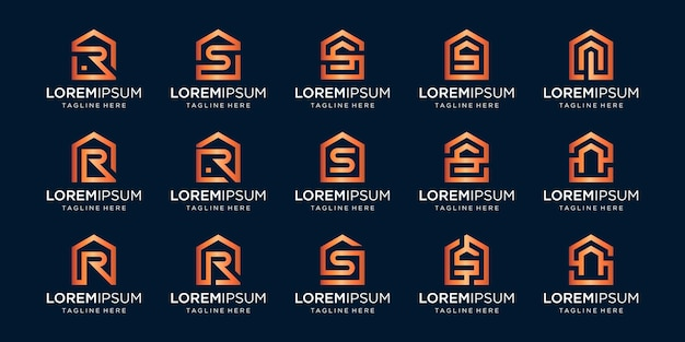 Set of home logo combined with letter r, s, n, designs template.