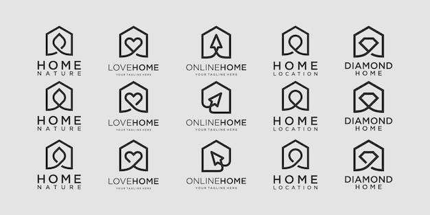 Set of home logo designs template.