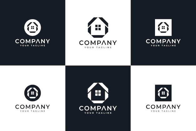Set of home minimalist logo creative design for all uses