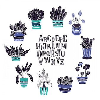 Set of home potted plants, hand written alphabet