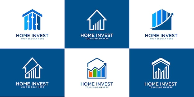 Set of home real estate with invest logo and statistic logo design premium vector