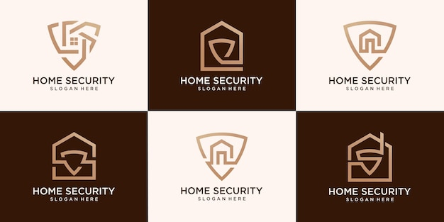 Set of home secure logo vector and home security