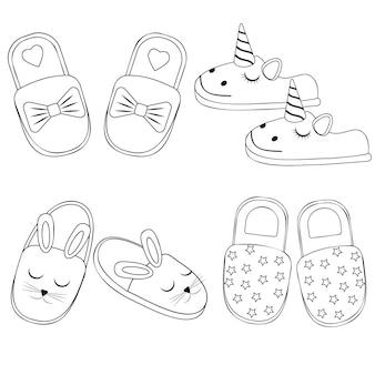 Set of home slippers black contour, vector illustration