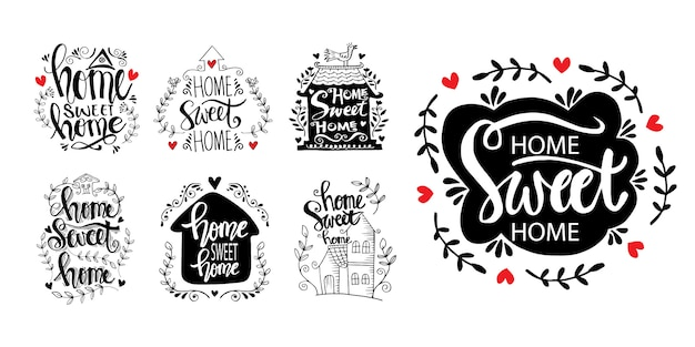 Set of home sweet home lettering