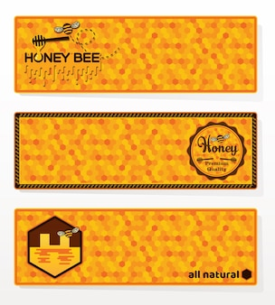 Set of honey banners.