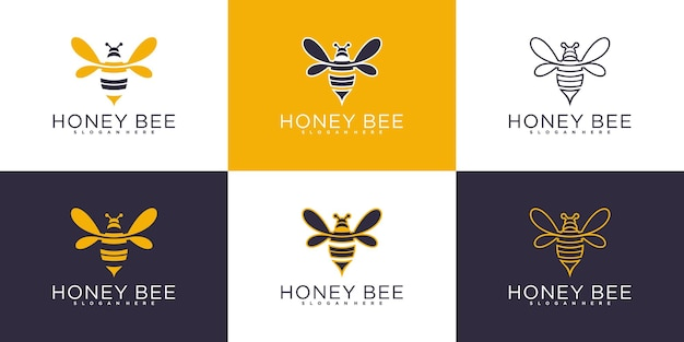 Set of honey bee logo design collection with modern colour and unique line art shape premium vektor