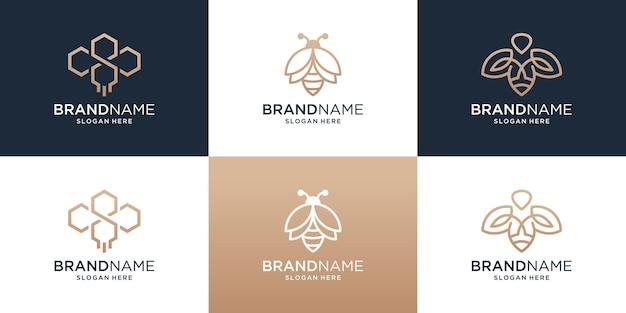 Set of honey bee logo with modern line art style