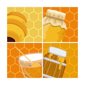 Set of honey and bees