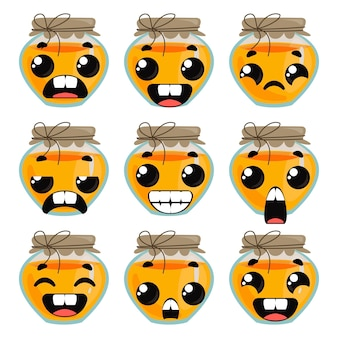 Set honey with emotions. children s funny clipart. vector illustration in cartoon style fun