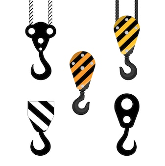 Set of hooks of a construction crane.