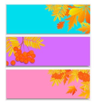 Set of horizontal autumn banners for seasonal sale with falling leaves and rowan berries.