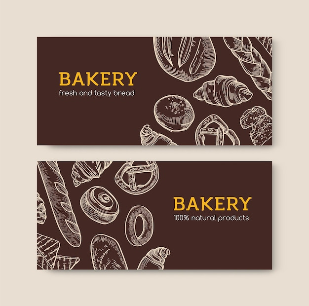 Set of horizontal background with delicious breads and tasty baked products hand drawn with contour lines