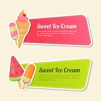 Set of horizontal banner template fast food with information