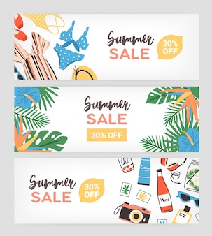 Set of horizontal banner templates for summer sale promo or advertisement decorated with exotic palm leaves, tropical flowers, beachwear, photo camera, sunglasses. flat colorful illustration.