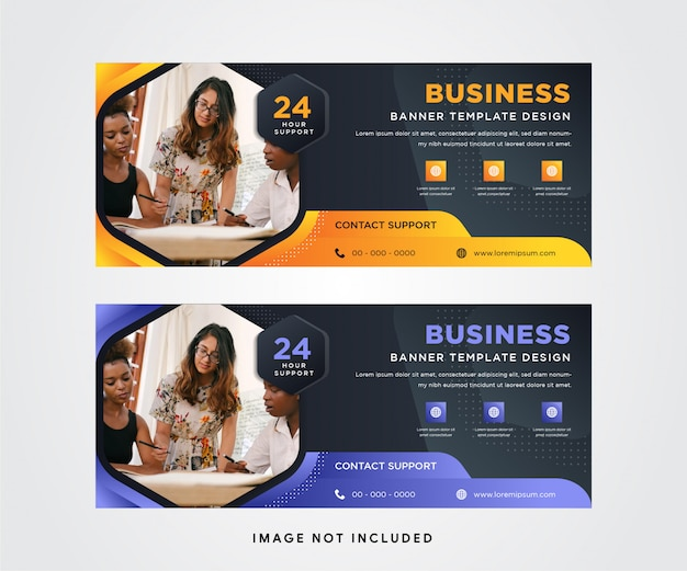 Set of horizontal banner with dark  background combined with orange and soft purple gradient element design. hexagon shape of space for photo.