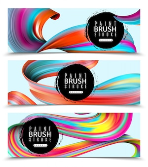 Set of horizontal banners brush strokes of vivid paints on light  isolated