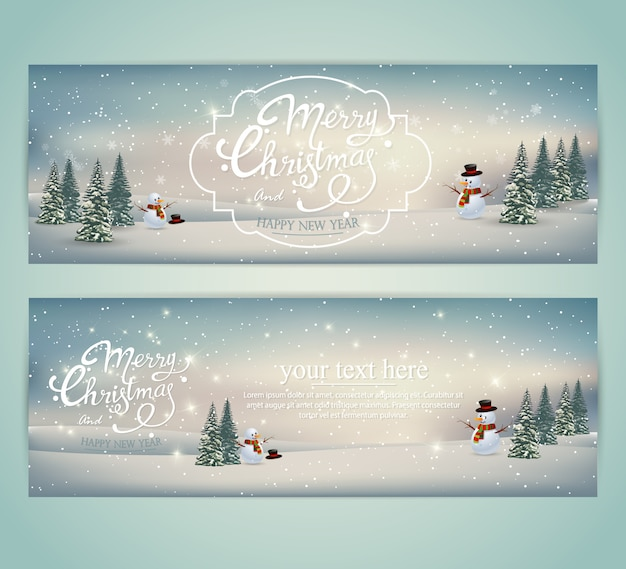 Set of horizontal banners merry christmas and new year.
