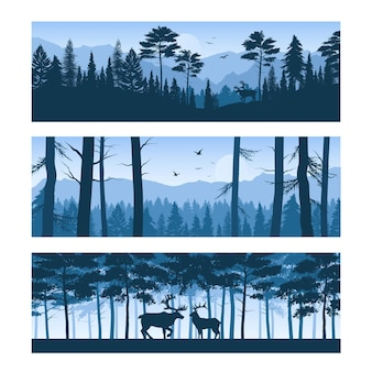 Set of horizontal banners realistic forest landscapes with deers and birds in sky isolated