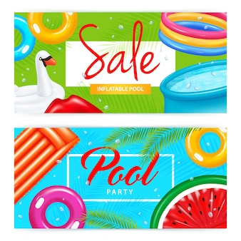 Set of horizontal banners realistic inflatable pool and colorful swimming equipment of various shape isolated