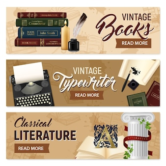 Set of horizontal banners realistic vintage books and typewriter classical literature on beige  isolated