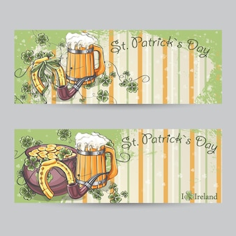 Set of horizontal banners for st. patricks day with horseshoe and pot of gold
