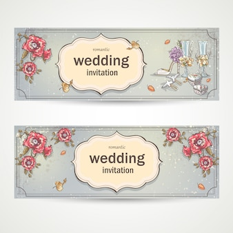 Set of horizontal banners wedding invitations with poppies, glasses, doves and the brides shoe