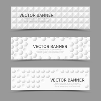 Set of horizontal banners with 3d geometric shapes. geometric bulge, cover texture