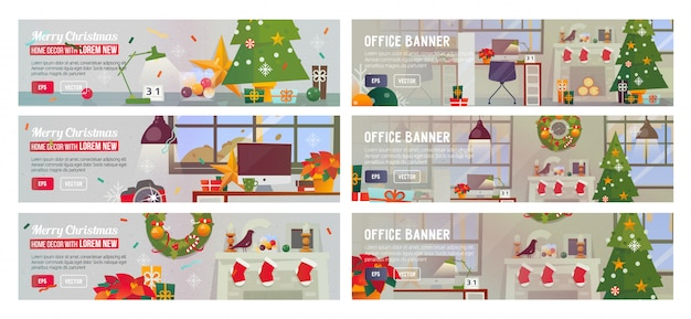Set of horizontal banners with christmas office.