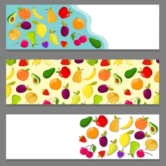 Set of horizontal banners with fruits