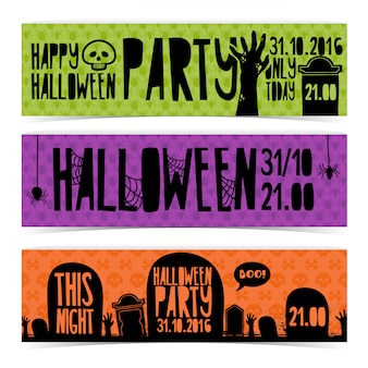 Set of horizontal banners with happy halloween party.