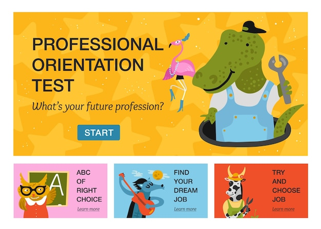 Set of horizontal banners with humanized animals of different professions isolated on color background