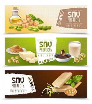 Set of horizontal banners with soy food products isolated on color