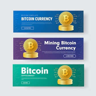 Set of horizontal banners with a stack of gold coins of crypto currency bitcoin with a chip
