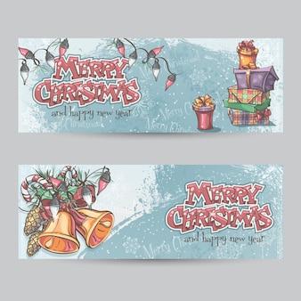 Set of horizontal christmas cards with flashlights, bells