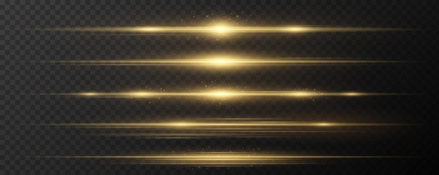 Set of horizontal golden light effects on a dark transparent background. collection of luxurious beams. bright rays with glowing dust. optical glare. vector illustration