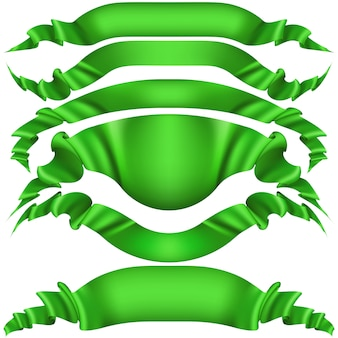 Set of horizontal green banners.