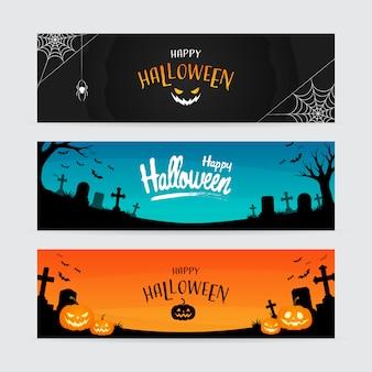 Set of horizontal happy halloween banner