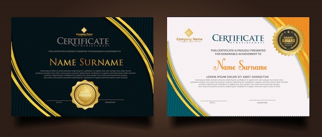 Set horizontal modern certificate template with futuristic and dynamic texture modern pattern background.