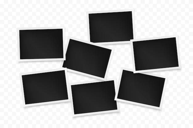 Set of horizontal photo frames on transparent background.