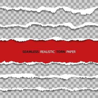 Установите горизонтальные реалистичные бесшовные поврежденные границы, отверстия в листе бумаги с рваными краями текстуры на прозрачном фоне.