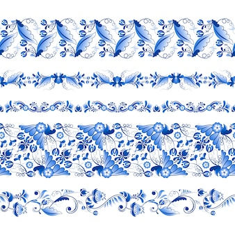Set of horizontal seamless pattern in gzhel style