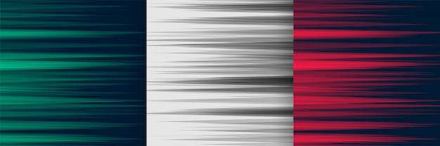Set of horizontal speed lines background in three colors