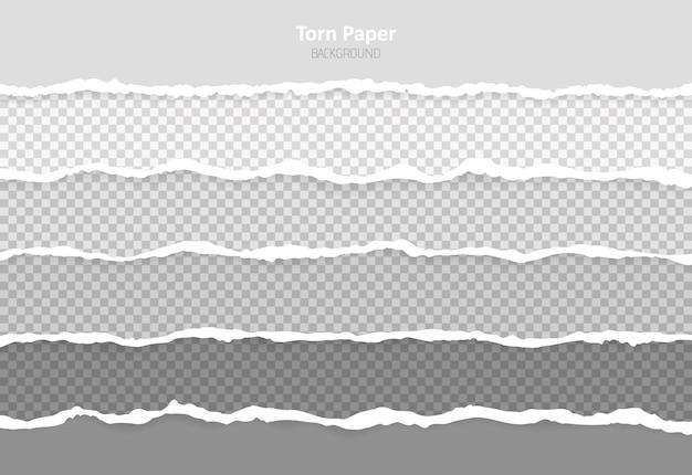 Set horizontal torn paper edges, seamless horizontally texture.