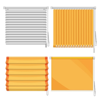 Set of horizontal and vertical window blinds roll up shutters, protective curtains from sunlights