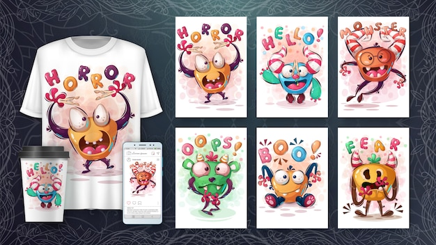 Set horror cute monster poster and merchandising