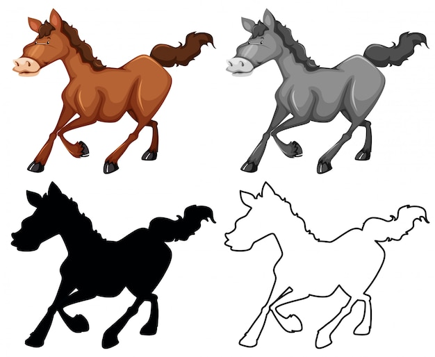 Set of horse character