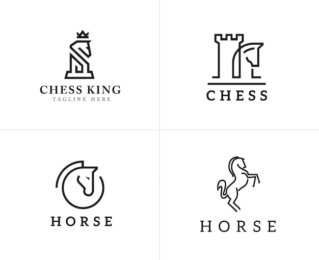 Set of horse linear icons and logo design elements