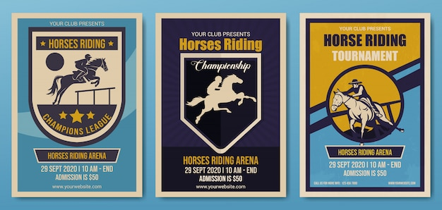 Set of horses riding championship flyer template, retro