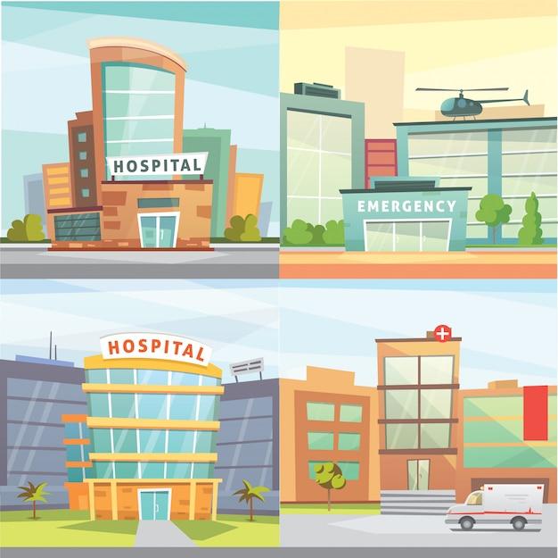 病院の建物の漫画のモダンなイラストを設定します。
