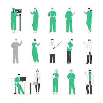 Set hospital staff doctors in medical robe with stethoscope